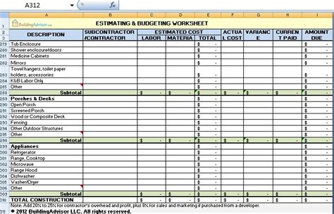 estimating and budgeting worksheet download in excel