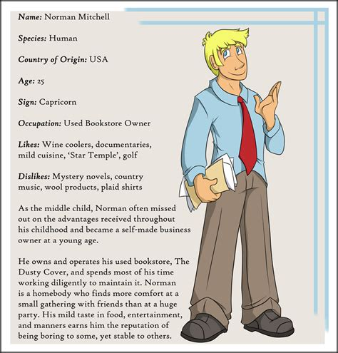 character biography exle character bio norman by everyday grind comic on deviantart