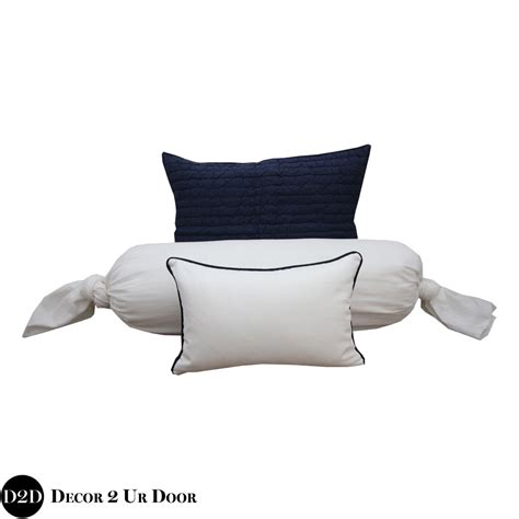 Navy White Pillow by Navy White Pillow Pile