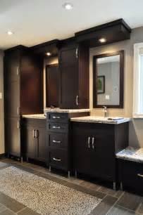 contemporary master bathroom with dark wood vanities a dream master bath