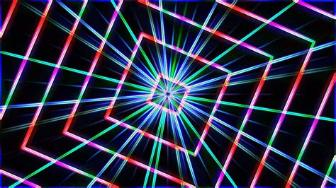neon background neon lights squares tunnel background loop 1080p