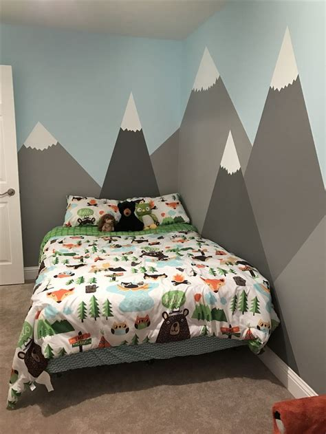 woodland themed bedroom my son kyler s room via ktgardner mountains painted on