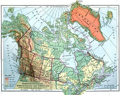 canadian map with coordinates dominion of canada newfoundland and greenland