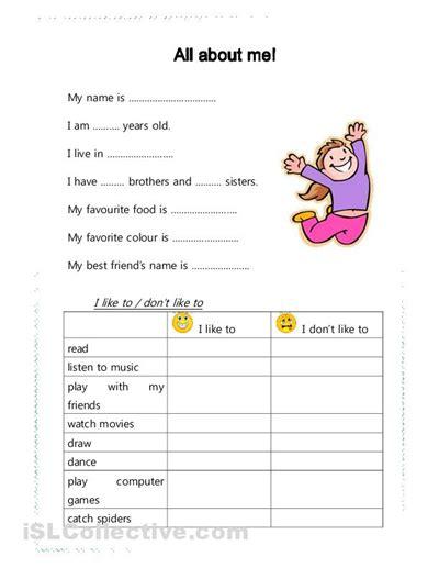 kindergarten ideas esl all about me kindergarten activity all about me