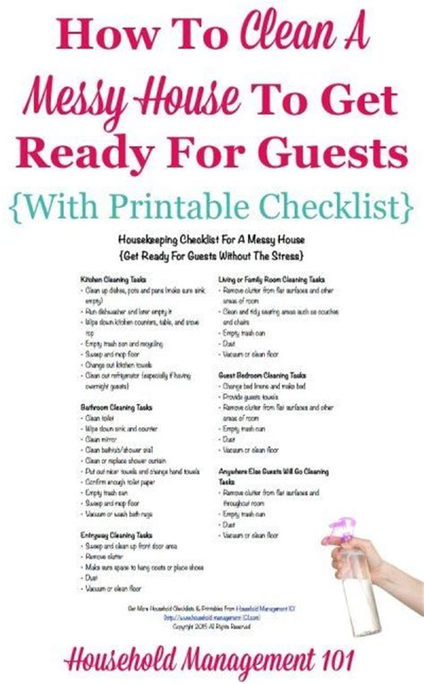printable house cleaning checklist for housekeeper housekeeping checklist for a messy house get ready for