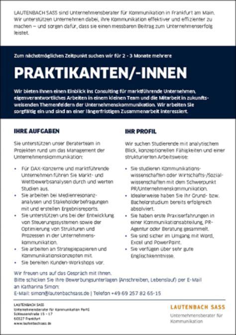 Praktikum Bewerbung Dauer Stellenangebote Karriere Lautenbach Sass Unternehmensberater F 252 R Kommunikation