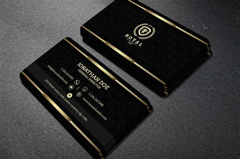 business card template embossed black gold business cards songwol c4fff4403f96