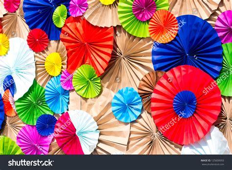 Circle Origami Paper - circle radial pattern origami paper craft stock photo