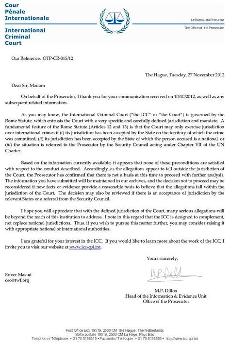 Decline Prosecution Letter May 2013 Hawaiian Kingdom