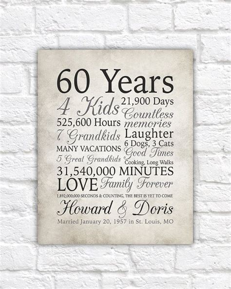 60th anniversary gift 60 years married or any year gift for and grandparents