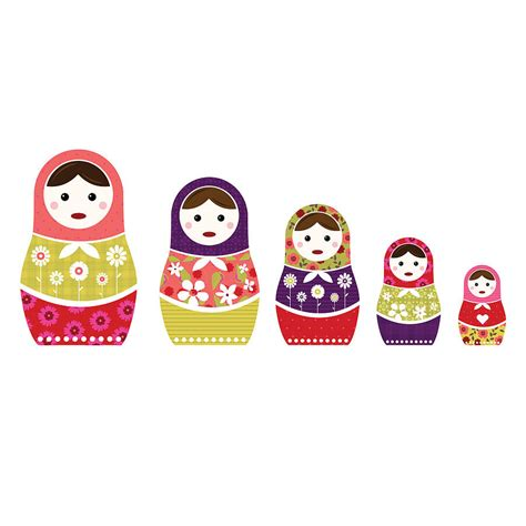 Russian Doll Wall Stickers russian dolls colour wall sticker set by spin collective