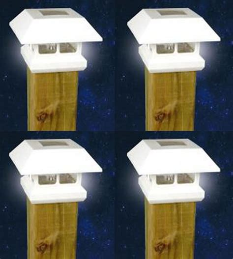 white solar l post light 4 white outdoor garden solar panel post deck cap light