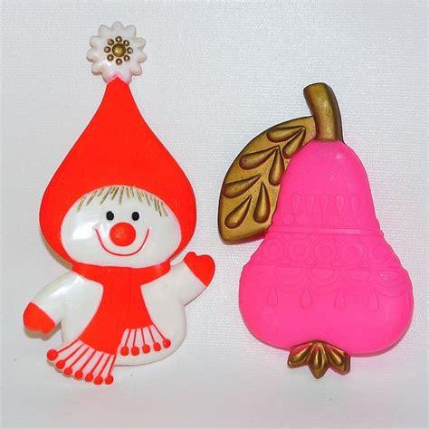 2 vtg 1960s hallmark christmas decorations snowlady pear