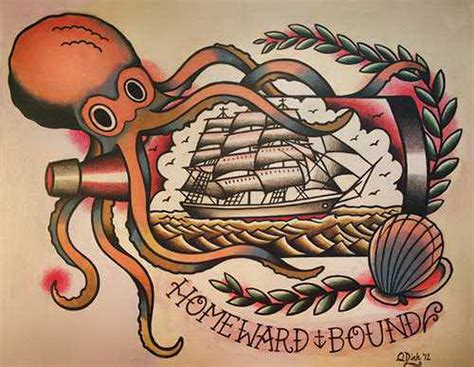 old school traditional tattoo designs octopus and ship bottle school parlortattooprints