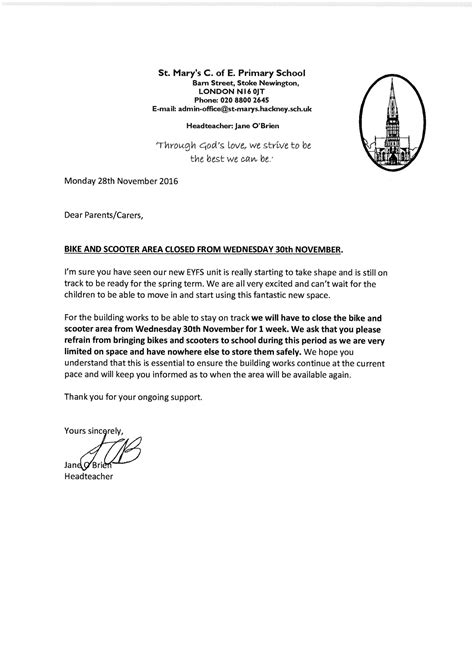 Support Letter For St 4 Bike Letter St S Church Of Primary School