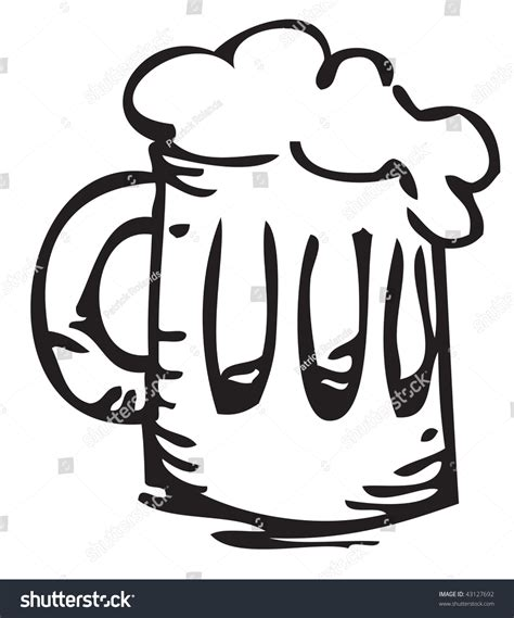 beer cartoon black and black and white cartoon of a beer stock photo 43127692