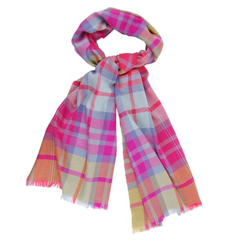 tom and harry s wool scarf pink tartan