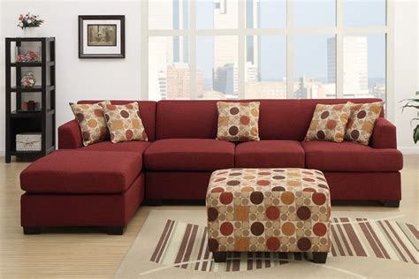 dark red sofa dark red blended linen l shape sofa sectional ottoman