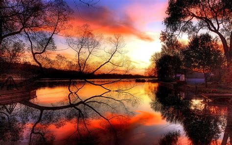 Dusk Autumn Forest Lake Water Autumn Sunset Pond Lakes Reflection Wallpaper 1920x1200