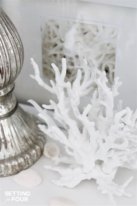 white coral home decor make faux coral inspired by pottery barn setting for four