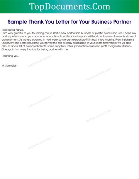 Business Thank You Letter Response thank you letter for business partnership top docx