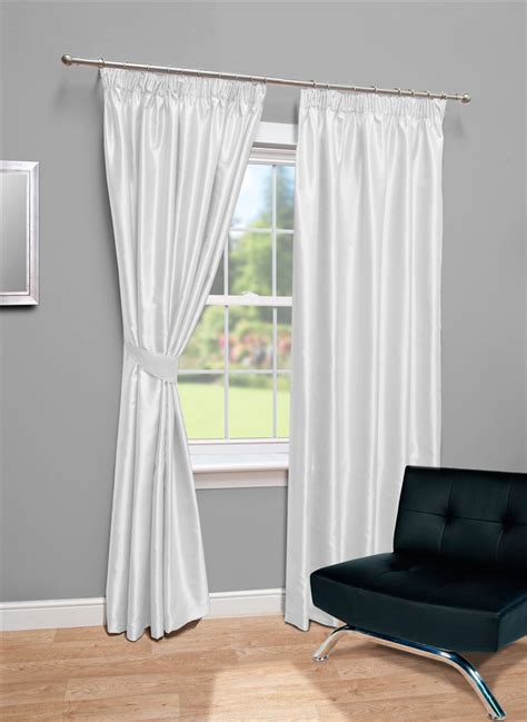 white silk curtains lined white faux silk tape top fully lined curtains