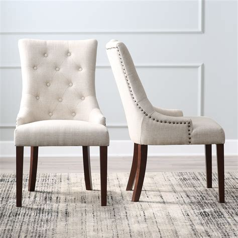 Tufted Dining Room Chairs belham living thomas tufted tweed dining chairs set of 2
