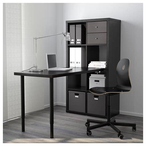 Kallax Desk Combination Black Brown 77x147 Cm Ikea Kallax Bureau