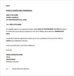 termination of employment notice template 13 termination letter templates free sle