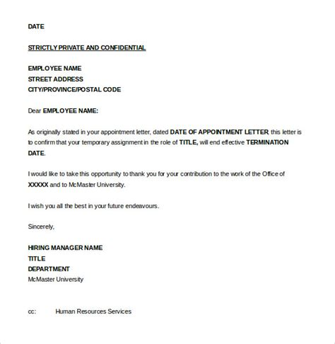 15 job termination letter templates free sle