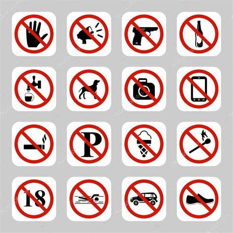 imagenes de simbolos y señales se 241 ales de prohibici 243 n no s 237 mbolos vector icon set