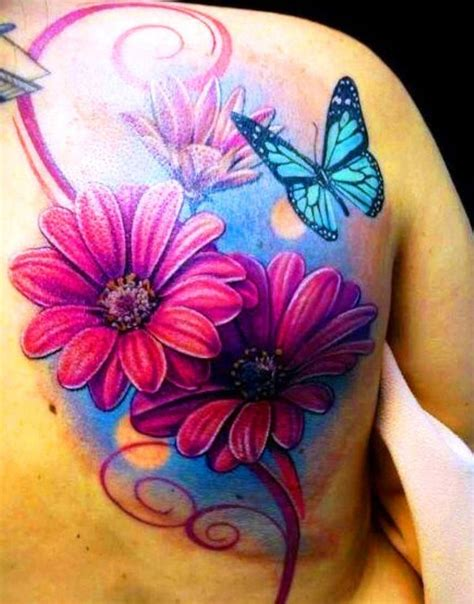daisy flower tattoos butterfly and flower tattoos on back flower
