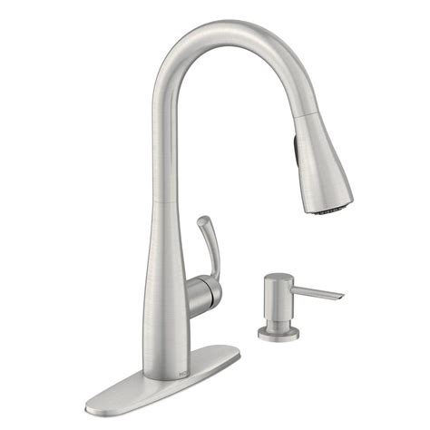 moen kitchen sinks and faucets moen essie single handle pull sprayer kitchen faucet with reflex and power clean in spot