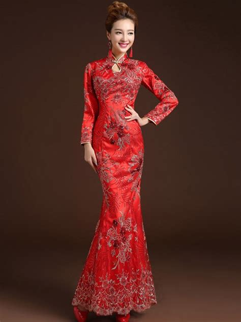 Lace Cheongsam Dress fishtail lace qipao cheongsam dress with sleeves