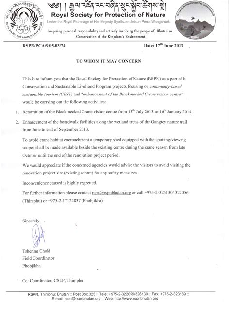 Request Letter House Renovation Crane Centre Renovation In Phobjikha Tourism Council Of Bhutan Official Website
