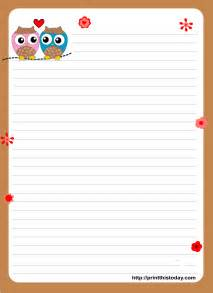 Letter Paper Template by Owl Writing Paper