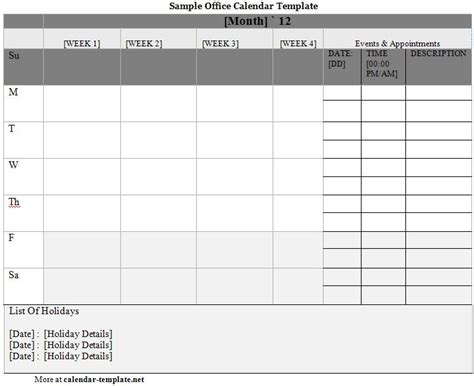 department schedule template calender template part 8