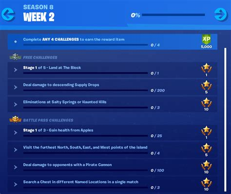 fortnite week 2 challenges fortnite season 8 week 2 challenges and how to complete
