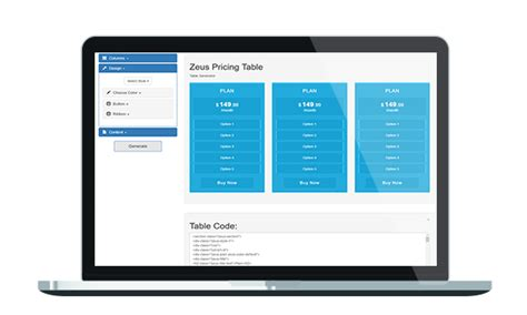 bootstrap theme generator sass zeus bootstrap pricing table with generator by pclab