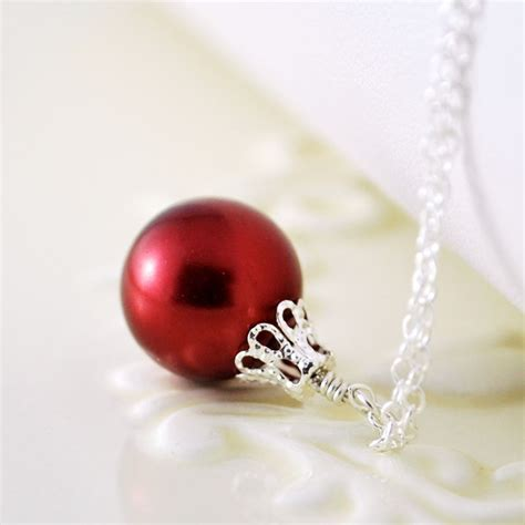 red christmas ornament necklace in sterling silver