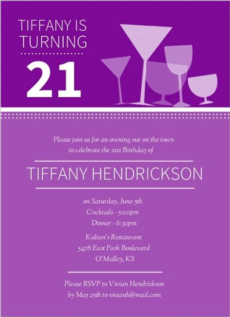 21st birthday invitation card template cocktail glasses 21st birthday invitations 21st birthday