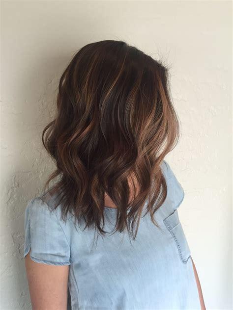 lob haircut dark wavy hair lob haircut and balayage highlight done by stylist mola