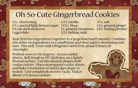 gingerbread recipe card template oh so gingerbread cookies recipe cards