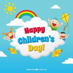children s day card in colorful style vector free
