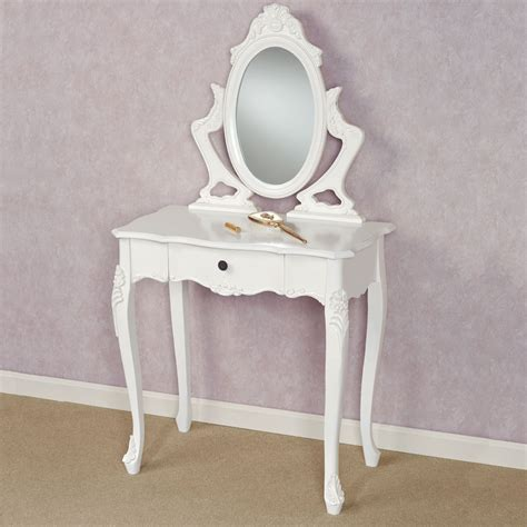 White Vanity Table Jeannette White Vanity Table With Mirror