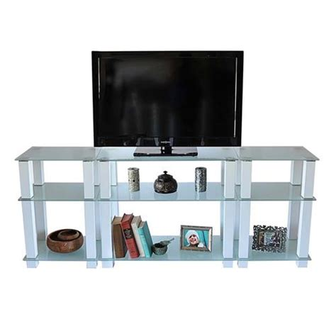 rta frosted glass 75 inch tv stand with side storage