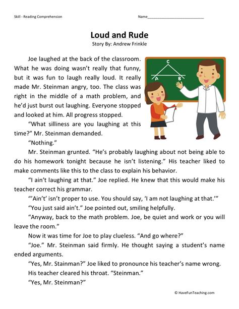 Fourth Grade Reading Worksheets by Reading Comprehension Worksheet Loud And Rude