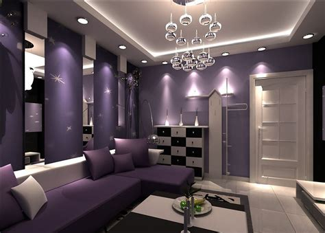 Purple Living Room Decor | ktv interior design with purple sofa 3d house free 3d