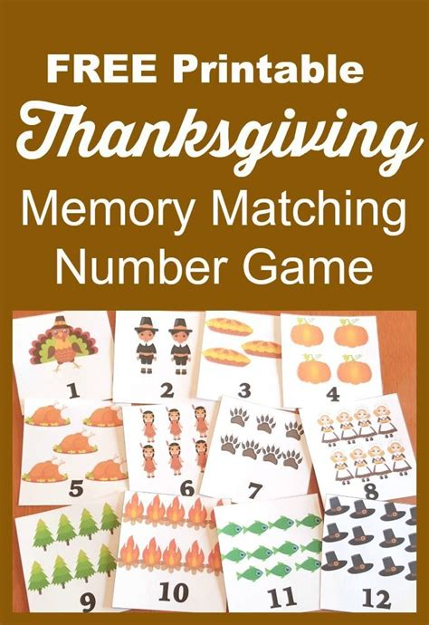 printable number matching cards free thanksgiving printable memory match number game