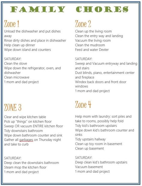 House Cleaning Chores List Template